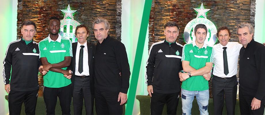 Les deux joueurs accompagnés de leur coach et de la direction (ASSE.fr)